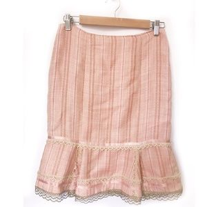 Nanette Lepore pink tulip skirt with lace trims, 0